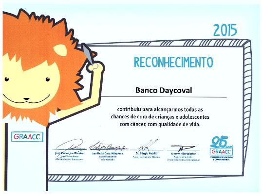 Daycoval recebe homenagem pelo apoio feito ao GRAACC