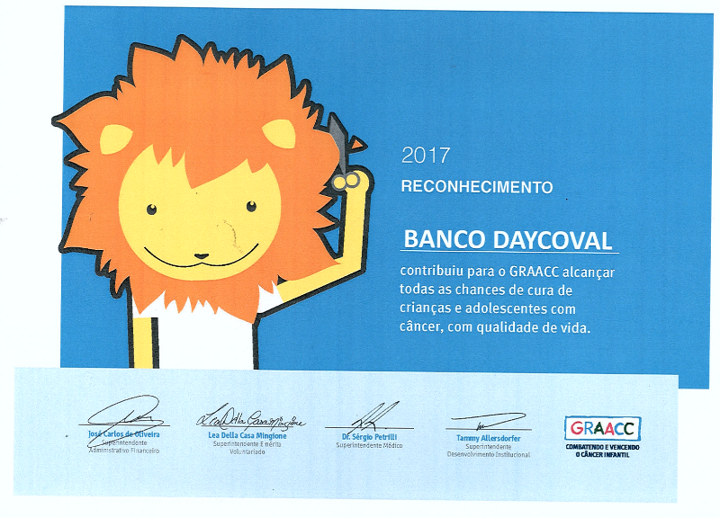 Banco Daycoval recebe homenagem do GRAACC