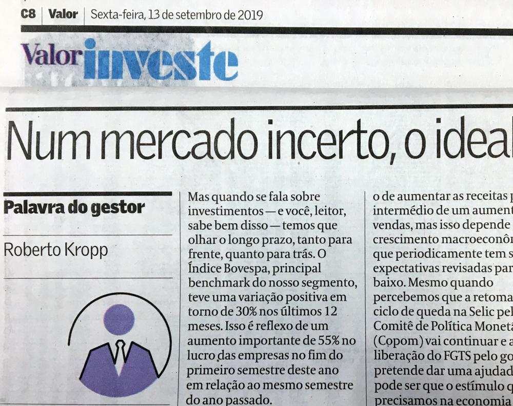 Confira artigo do diretor da nossa Asset no Valor Econômico